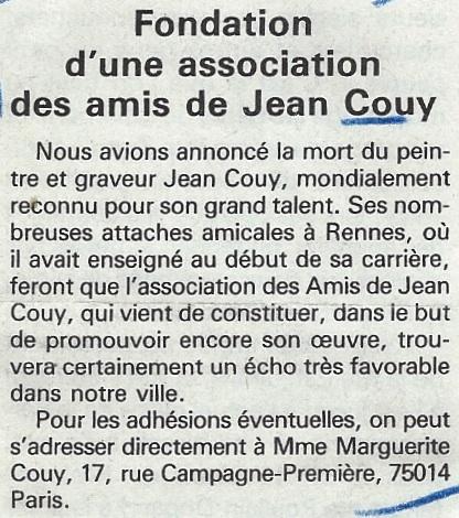 """Annonce parue le 21/02/1986 dans """"7 jours en Ille et Vilaine"""""""